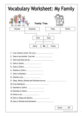 109 free esl family tree worksheets vocabulary worksheet my family easy ccuart Image collections