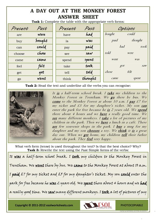 A Day Out At The Monkey Forest: using irregular verbs / proofreading