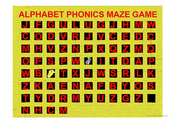 Alphabet Phonics Maze Game (A-Z) With Sounds