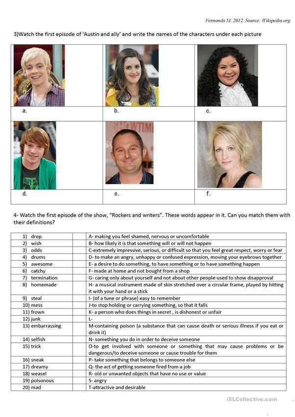 Austin and Ally TV worksheet