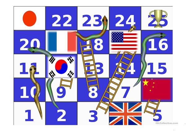 Flags Snakes and Ladders