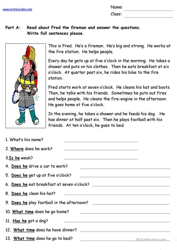 Fred the Fireman - Reading Comprehension