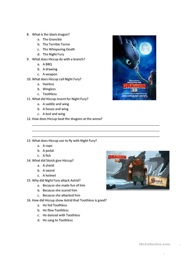 How to train a dragon movie quiz