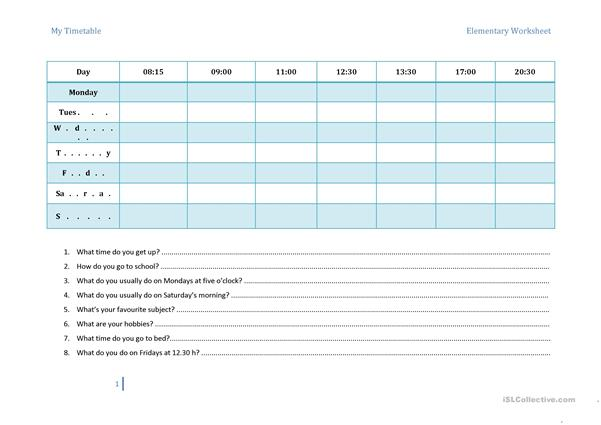 My Timetable & Routines