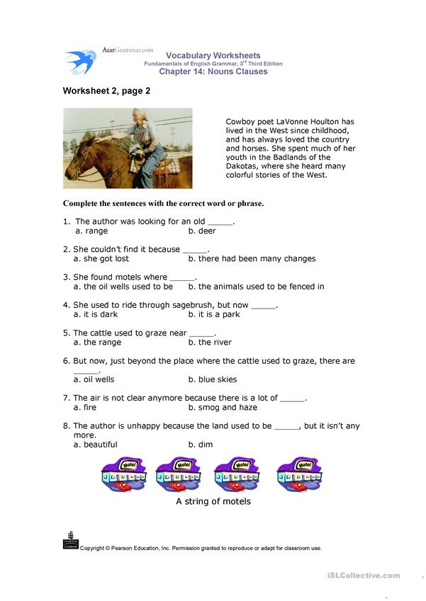 Nouns Clauses - Vocabulary Worksheets
