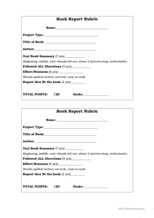 Oral BookRreport Rubric
