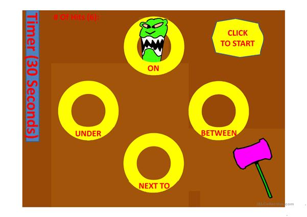 Prepositions of place Whack the Mole with 2 timers