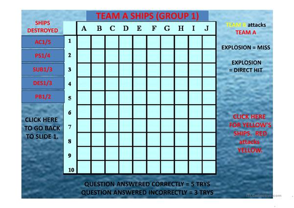 Prepositions of time Battleship Interactive Game 34 questions