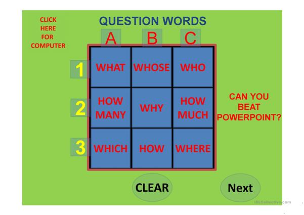 Question Words Tic Tac Toe Against The Computer Part 1