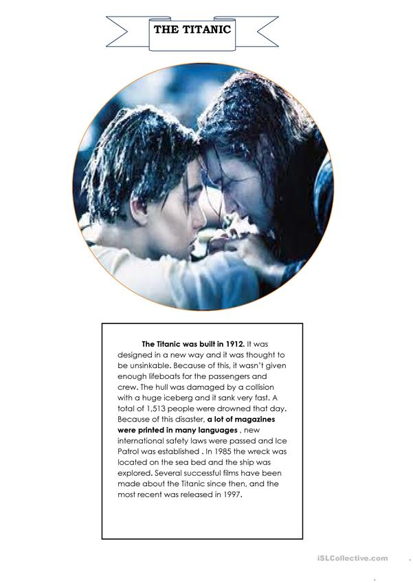 Reading Passage(the Titanic) with Passive Voice