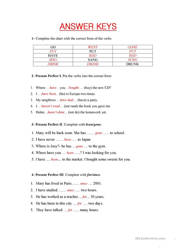The Present Perfect (test or revision)