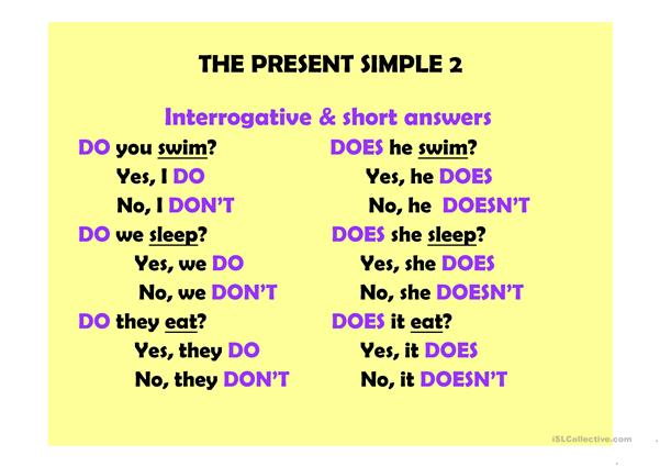 The present simple 2