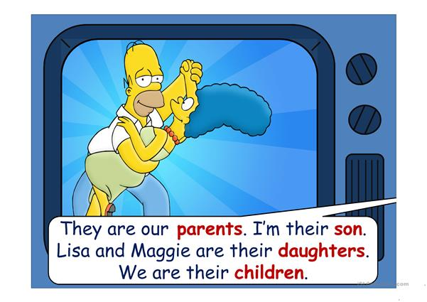 The Simpsons - family vocabulary