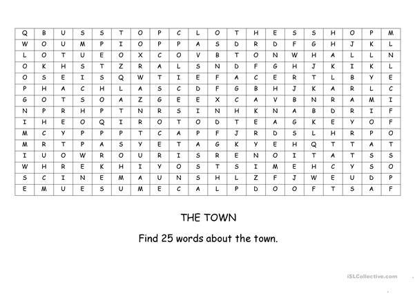 Town wordsearch