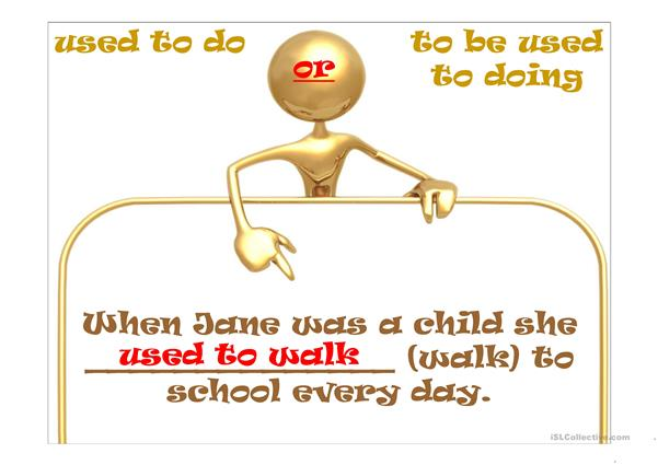 USED TO (DO) or TO BE USED TO (DOING)