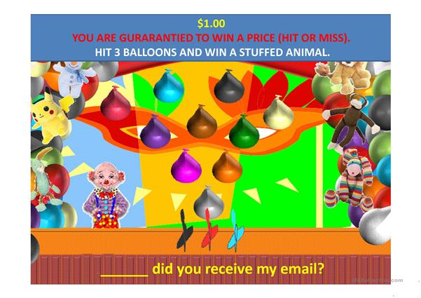 When Where and What Balloon Arcade Question Words