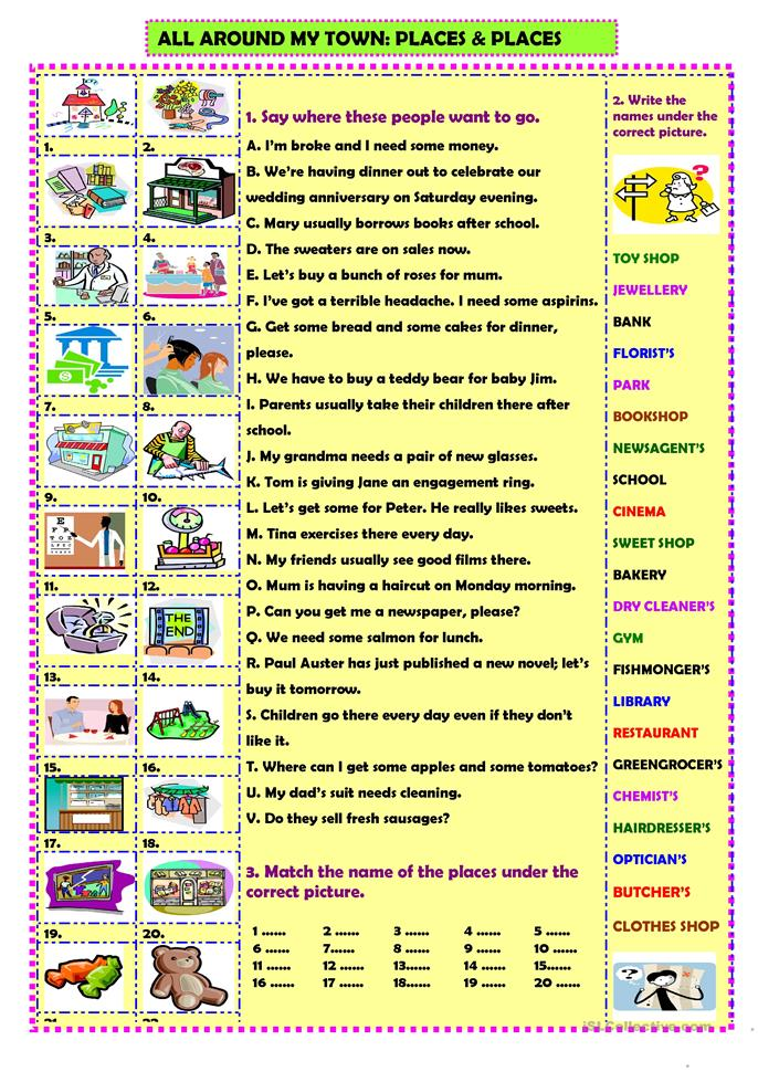 All around my town: places & places - ESL worksheets