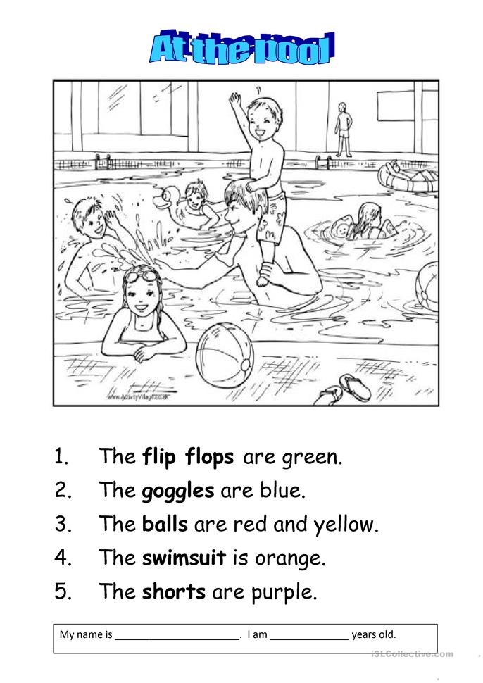 At The Swimming Pool Worksheet Free Esl Printable Worksheets Made By Teachers
