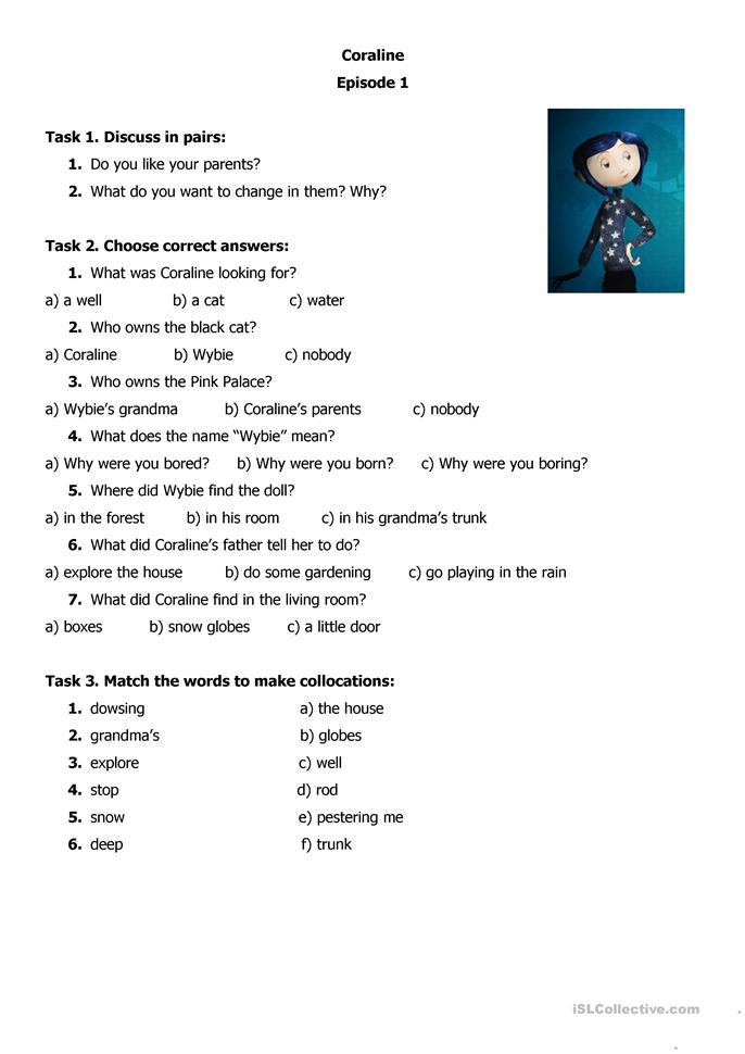 who what when where why worksheets coraline worksheet free esl printable worksheets made by 772