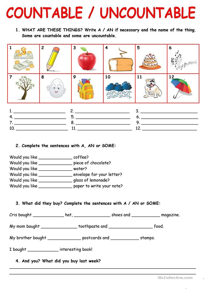COUNTABLE/UNCOUNTABLE NOUNS worksheet - Free ESL printable worksheets ...