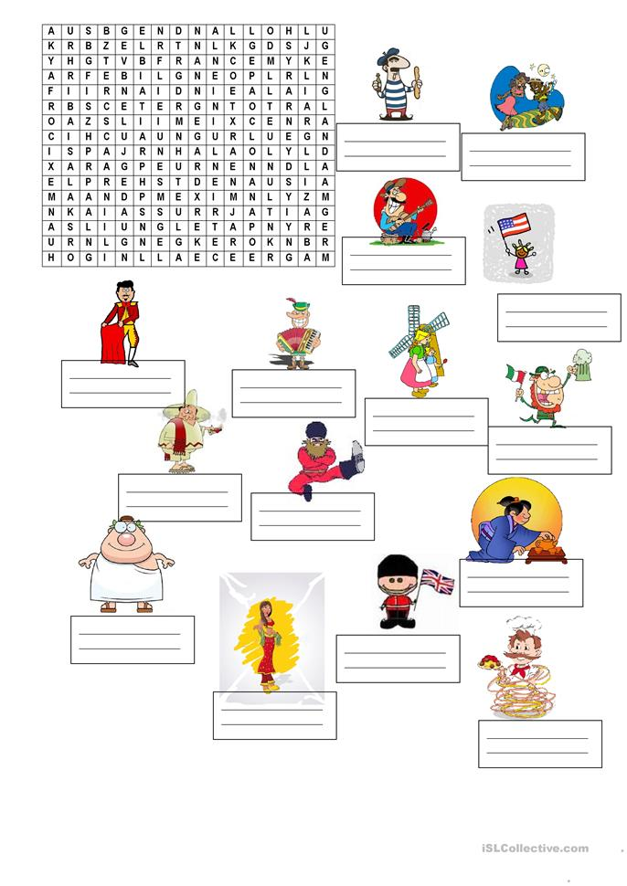 Coutries and nationalities - ESL worksheets