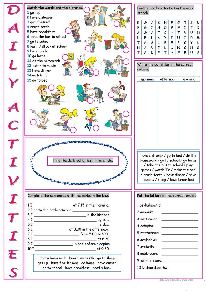 big_23350_daily_activities_1 Worksheet Daily Routine on before after, present simple esl, for grade 2, for kindergarten, for preschoolers, for kindergatern,