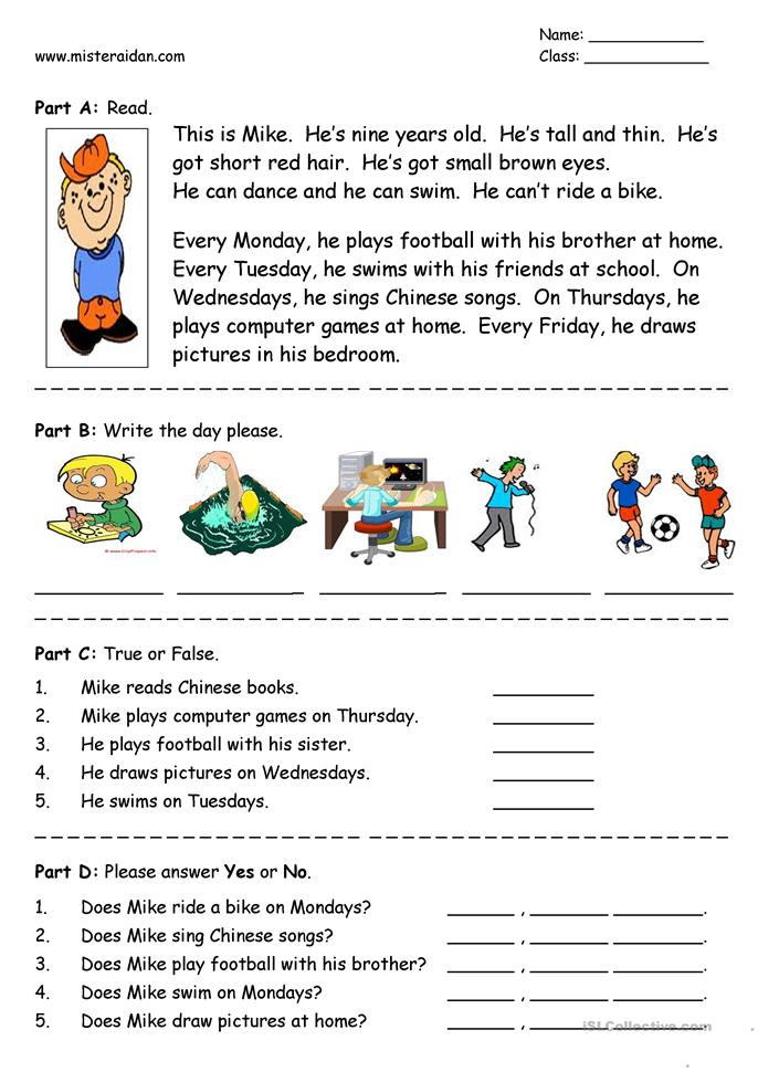 Days of the Week - easy reading comprehension - ESL worksheets