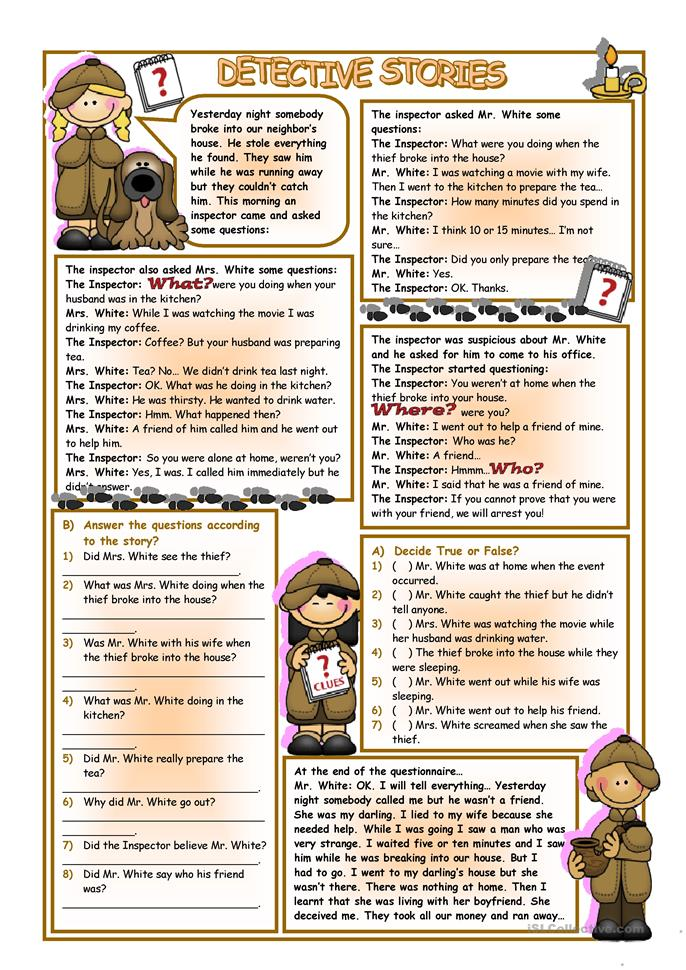 Detective Stories - ESL worksheets