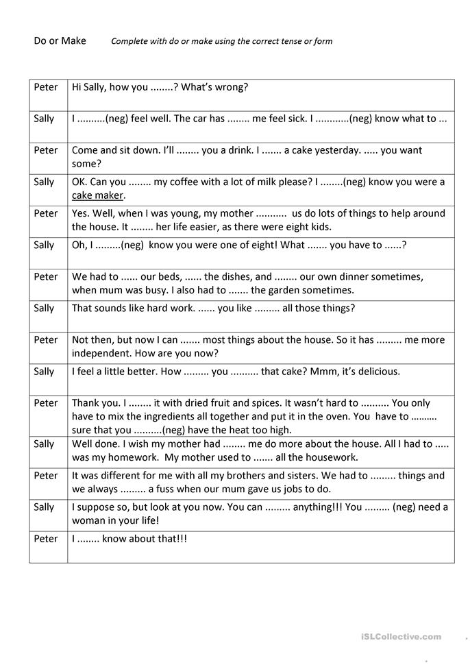 Do or make - ESL worksheets