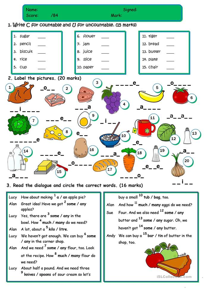 Food - TEST *countable/uncountable;a/an/some/any;food voc... - ESL worksheets