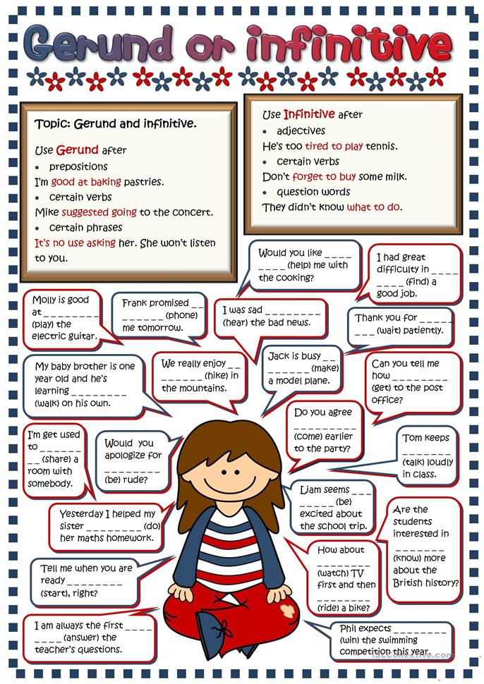 127 FREE ESL Gerunds and Infinitives worksheets for intermediate ...