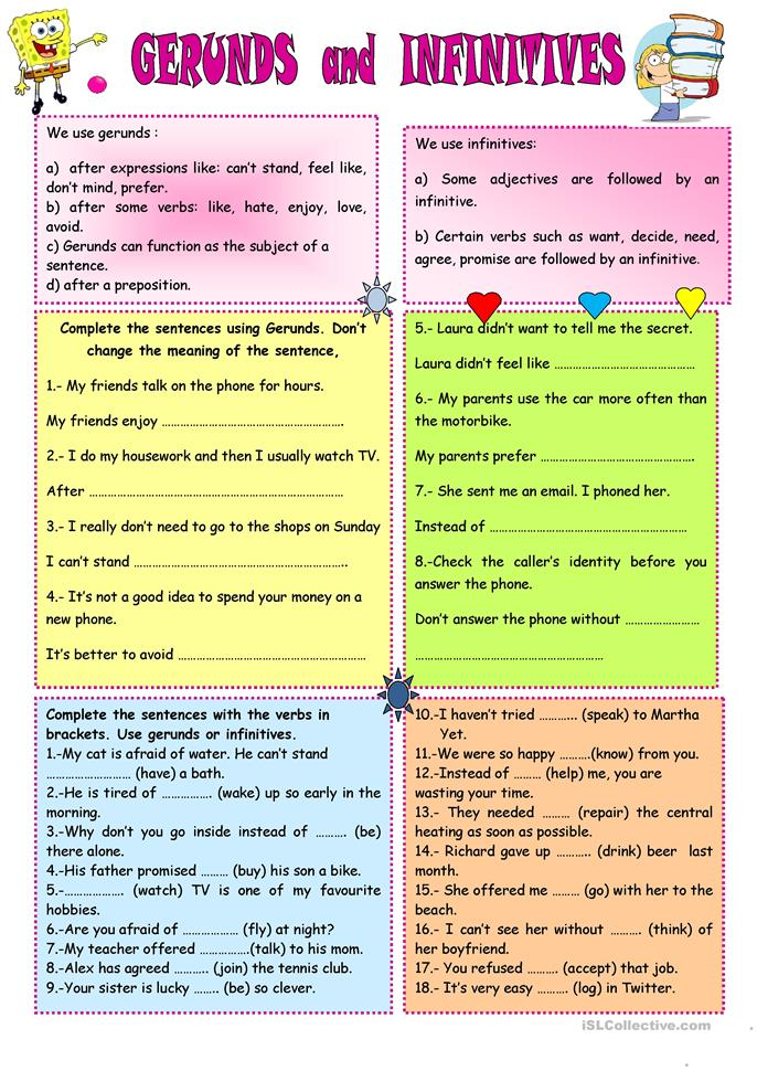 Gerunds Participles And Infinitives Worksheets