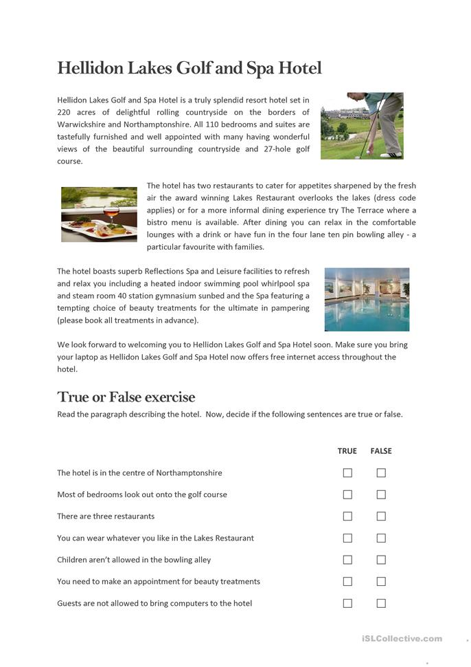Golf & Spa Hotel - Reading - ESL worksheets