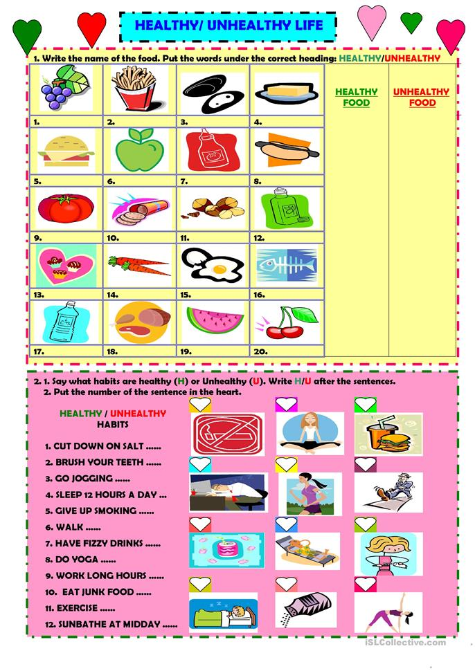Printables Healthy Habits Worksheets 13 free esl healthy habits worksheets healthyunhealthy life