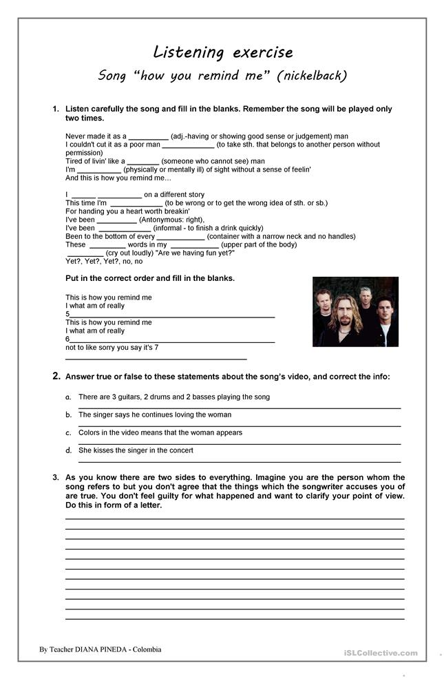 "LISTENING EXERCISE ""HOW YOU REMIND ME"" NICKELBACK - ESL worksheets"