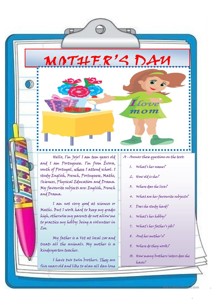 mother's day - ESL worksheets