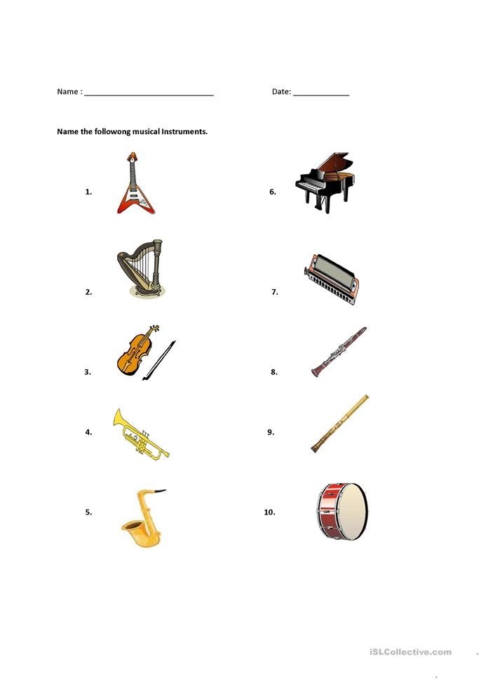 Worksheets Instrument Worksheets For Preschool 31 free esl musical instruments worksheets instruments