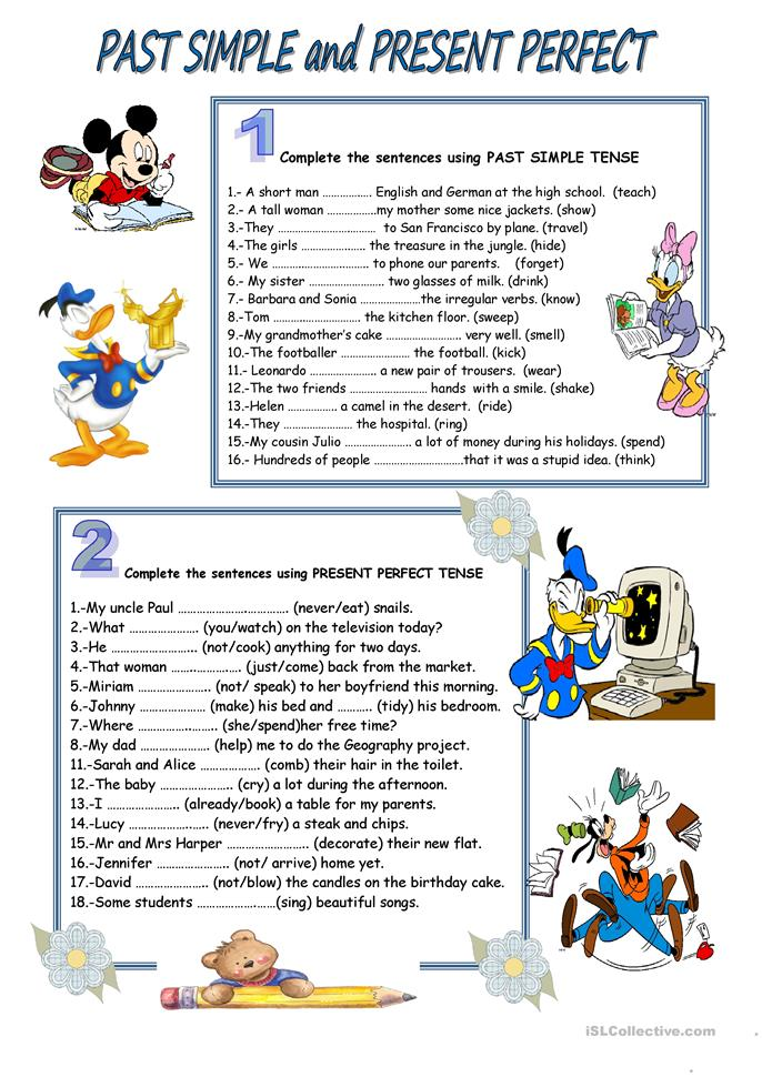 PAST SIMPLE AND PRESENT PERFECT - ESL worksheets