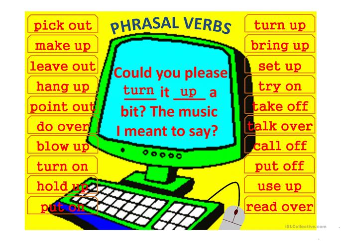 Phrasal Verbs Computer Game (template) - ESL worksheets