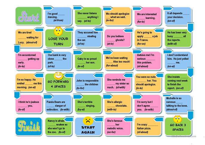 Prepositions Board Game -Easy and Advanced Versions - ESL worksheets