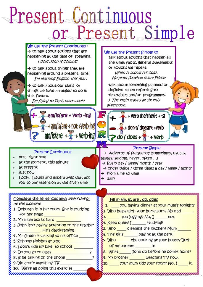 Present Continuous or ... - ESL worksheets