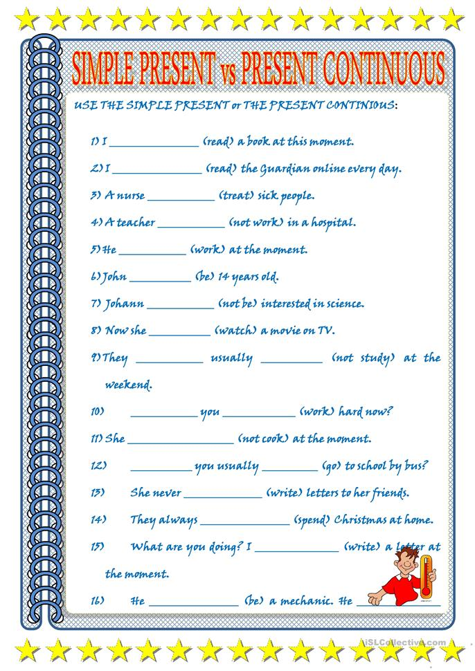 present simple vs cont... - ESL worksheets