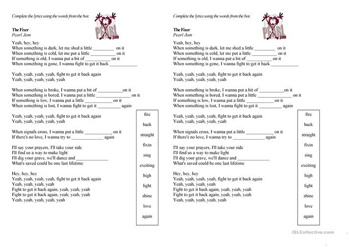 Worksheets For The Pearl : The fixer pearl jam worksheet free esl printable