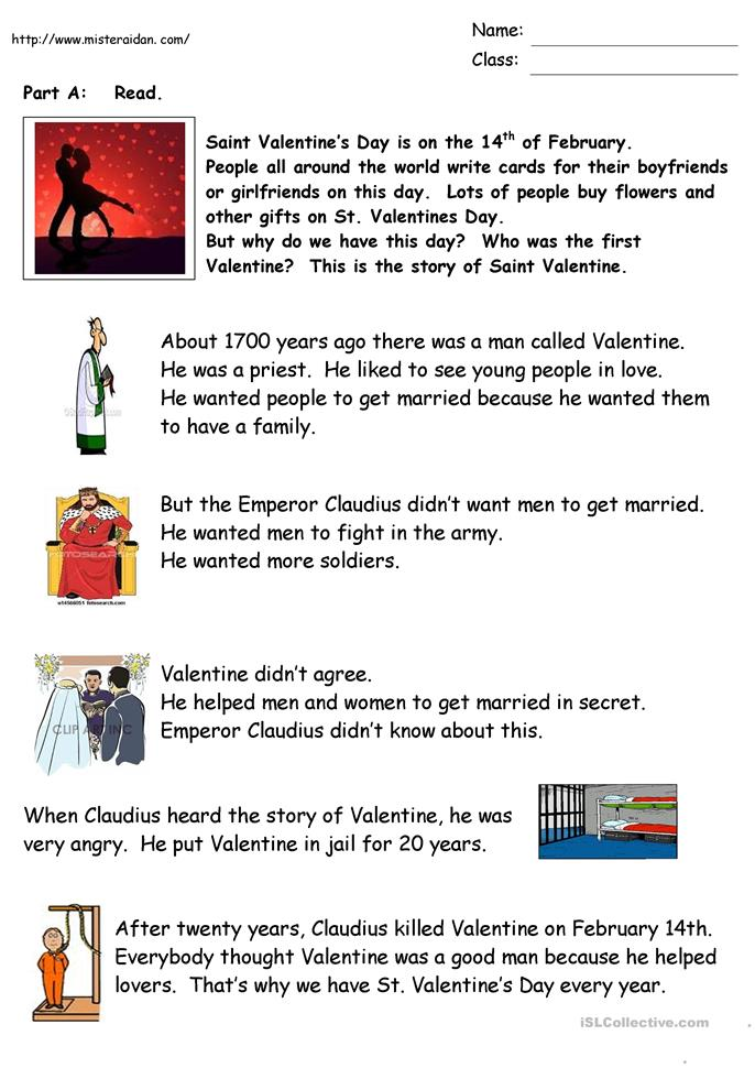 The History of Valentine's Day - ESL worksheets