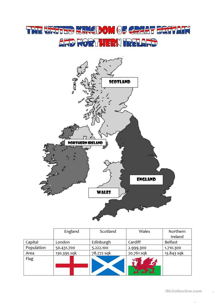The United Kingdom of Great Britain and Northern Ireland - ESL worksheets
