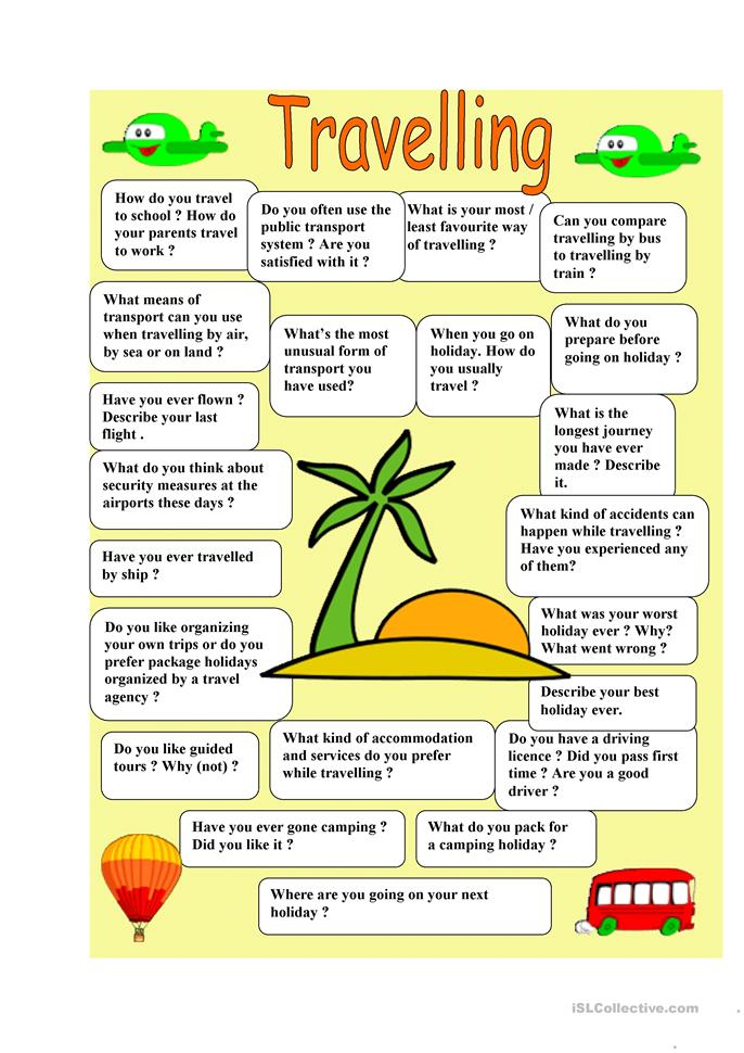 Travelling - speaking - ESL worksheets