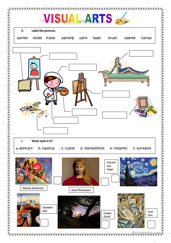 Art Handouts And Worksheets : Visual arts worksheet free esl printable worksheets made