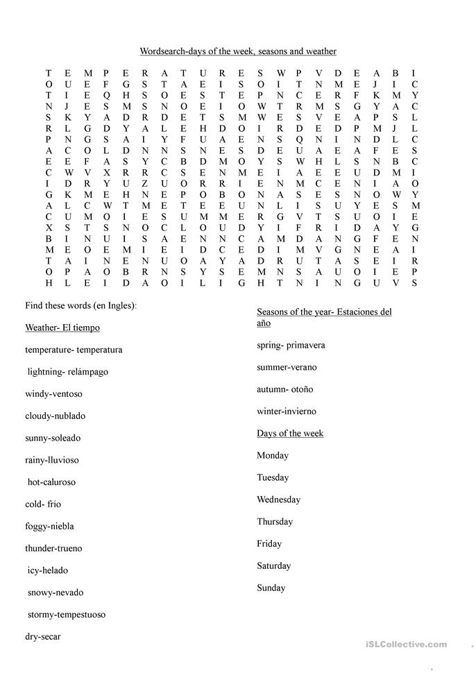 wordsearch days of the week weather and seasons worksheet free esl printable worksheets made. Black Bedroom Furniture Sets. Home Design Ideas