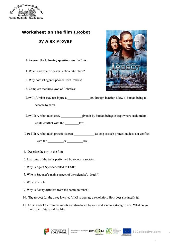 worksheet on the film i robot worksheet free esl printable worksheets made by teachers. Black Bedroom Furniture Sets. Home Design Ideas