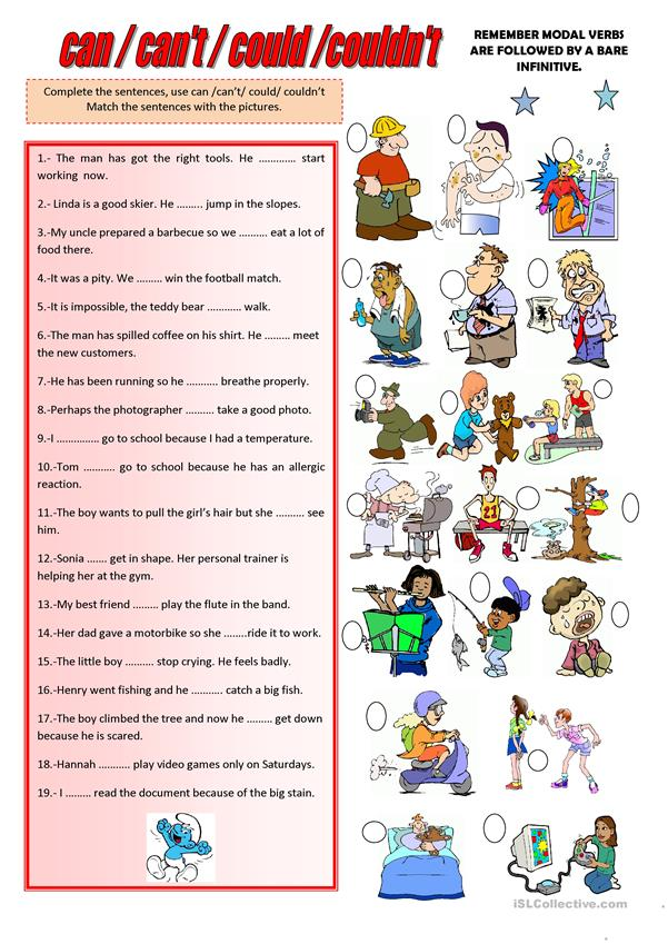 CAN, CAN'T, COULD, COULDN'T - English ESL Worksheets For Distance Learning  And Physical Classrooms